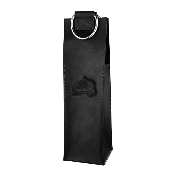 Black Leather Wine Tote