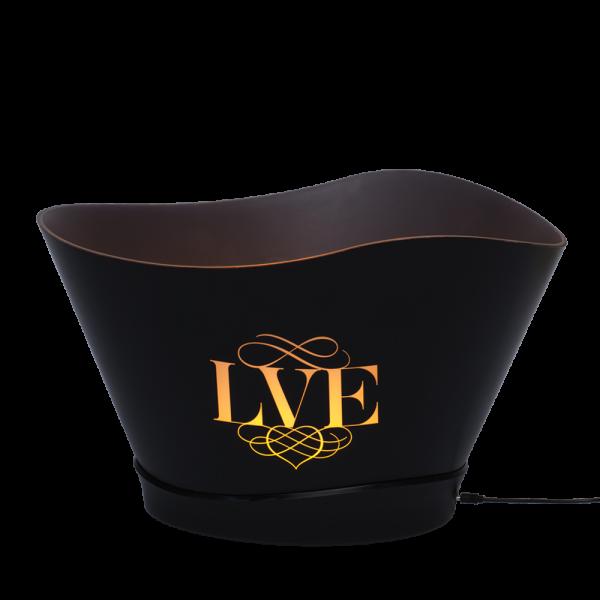 LED large Ice bucket black plastic