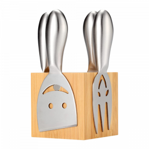 Cheese Knife Set with Wood Block